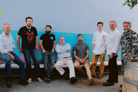 Leading chefs Chris Taylor, Luke Foyle, Chase Webber, Patrick O'Brien, Evan Hayter, Morgan Ketye, Bob Rawlins and Petty Officer Paul Graham, of HMAS Stirling.