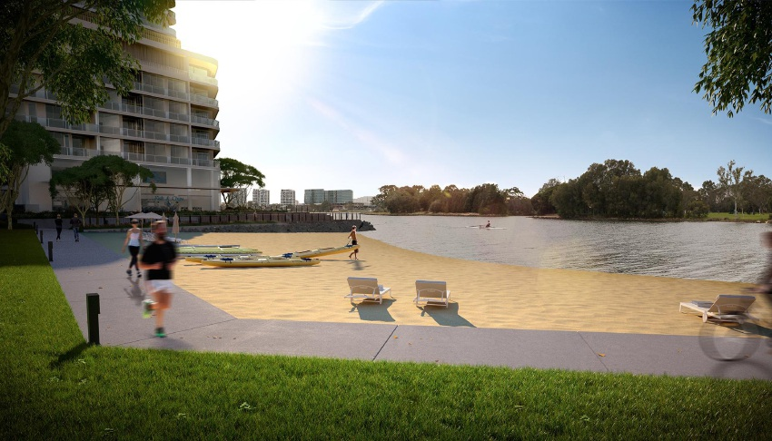 An artist's impressions of the Waterbank development, including a beach, boardwalk and retail hub.