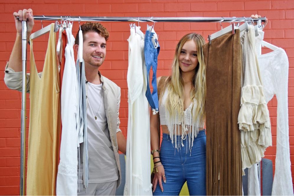 Stylist Mikey Walton and young designer Remi Lane. Picture: Jon Hewson www.communitypix.com.au   d450768