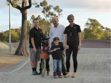 Kalamunda MLA John Day with parents Tim and Jo Bennett and sons Thomas and Oliver at the BMX track.