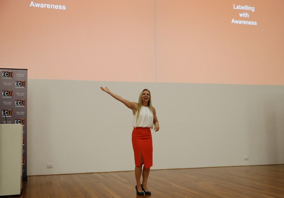 Dr Clio Cresswell speaking at the Edith Cowan memorial lecture on International Women's Day. Picture: Martin Kennealey  d450978