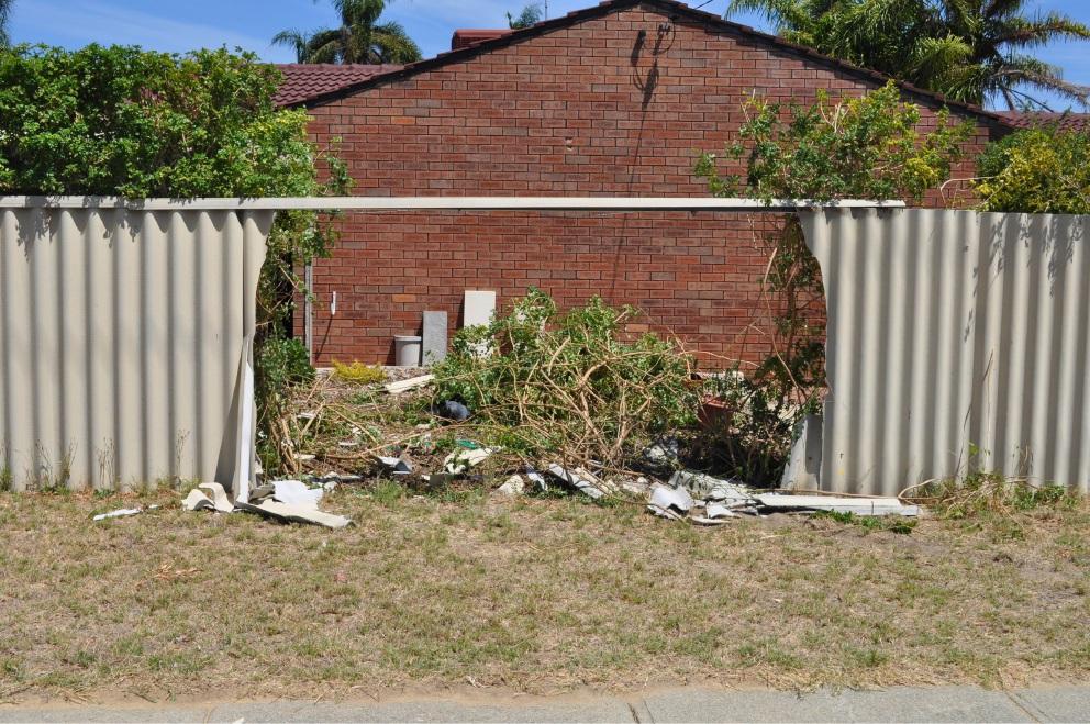 the damaged fence