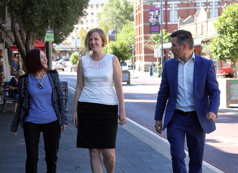 Rachel Siewert, Kate Davis and Brad Pettitt. Picture: Robin Kornet    d450931