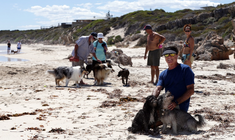 Rob Nelson, pictured with his dogs Moby and Deez, coordinated a petition to extend Quinns Rocks dog beach. Picture: Martin Kennealey d450993