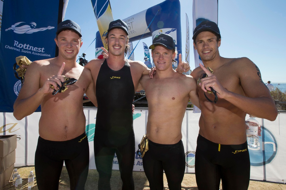 Swimmers Gregg Tidboald, Patrick Hoey, Rhys Mainstone and Chris Paunich. Picture: Matt Jelonek         www.communitypix.com.au   d445658