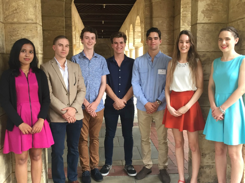 Scholarship winners Chelsea Francis, Oliver Hoare, Conor McLaughlin, James Heald, Edoardo Anderle, Julia DeLorenzo  and Cassandra Howell.