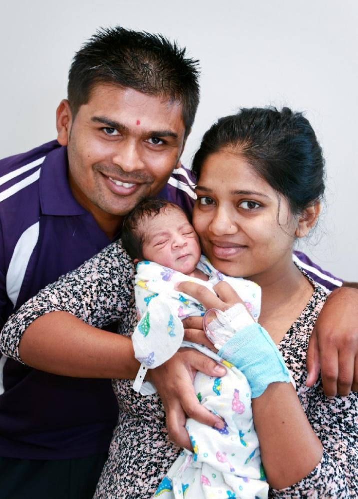 Lalji and Dhanvantiben Halai of Beechboro with their baby boy. Picture: David Baylis www.communitypix.com.au   d449887