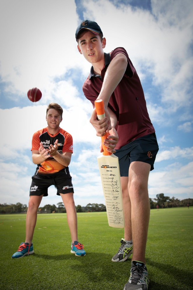 Scotch College student Lewis Martin with Perth Scorchers player Marcus Harris. Picture: Andrew Ritchie www.communitypix.com.au   d450883