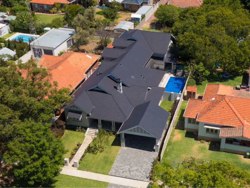 A bird's eye view of 7 Thomas Street, Nedlands. Buyers will be able to see inside during an online 3D tour.
