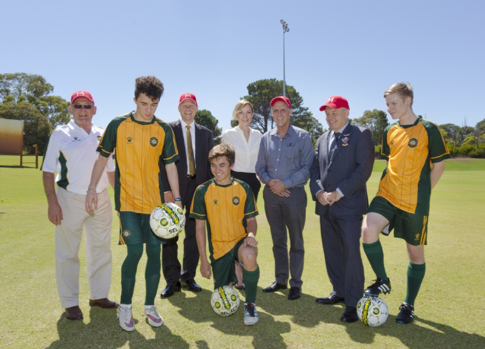 A large contingent was on hand for the announcement of two new synthetic soccer pitches at Murdoch University.