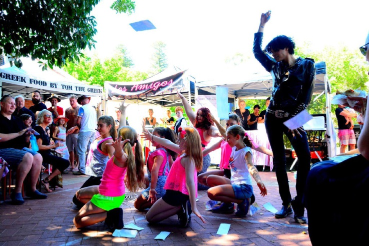 A flash mob organised by Louise Towler in the lead-up to the launch of the WA Children's Theatre. Picture: Sally Sumner