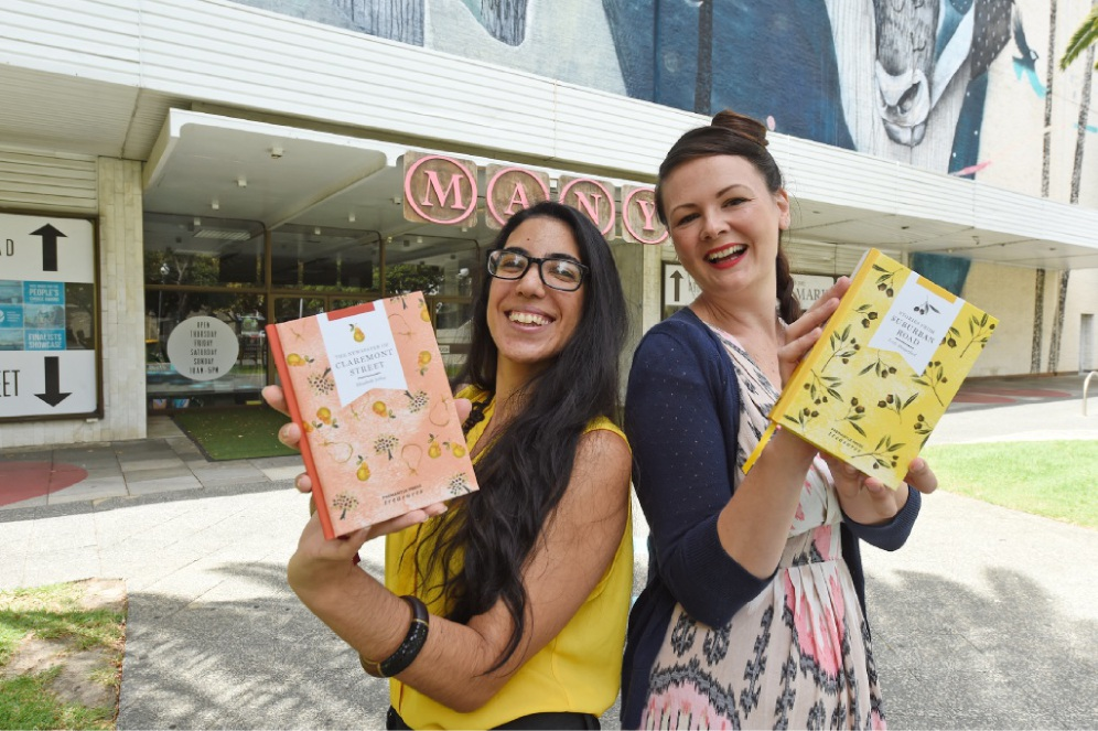 Naama Amram, from Fremantle Press, and Angela Mitchell, of Mitchell and Dent, with the books. Picture: Jon Hewson         d450053