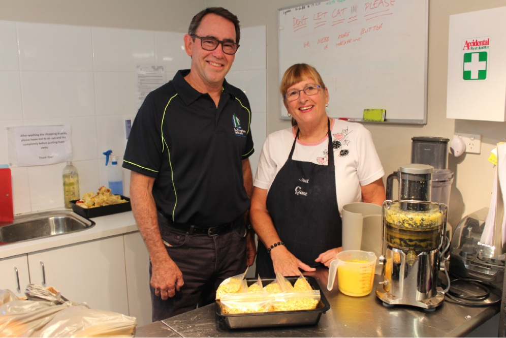 Rockingham Kwinana Chamber of Commerce's Tony Solin with SOUL Soup Patrol co-founder Patty Powell.