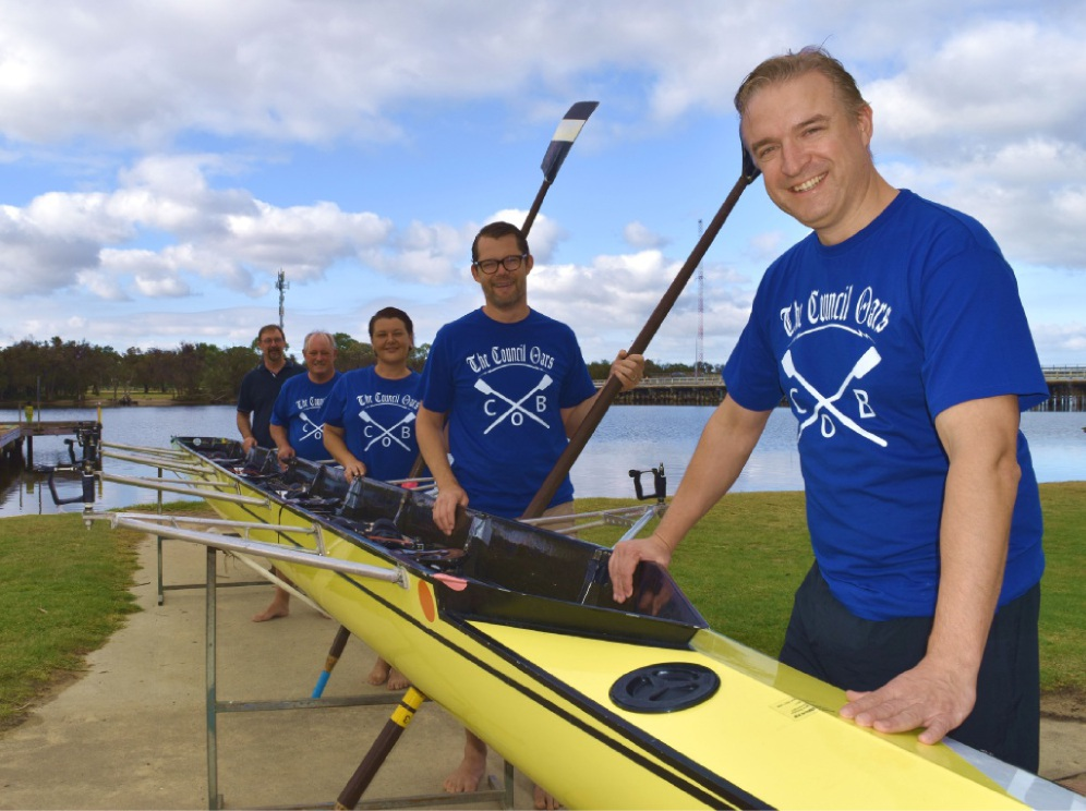 Lawrence Bourke prepares Mayor Barry McKenna and councillors Catherine Ehrhardt, Dan Bull and Chris Cornish for the Learn-to-Row Challenge Regatta. Picture: Toyah Shakespeare
