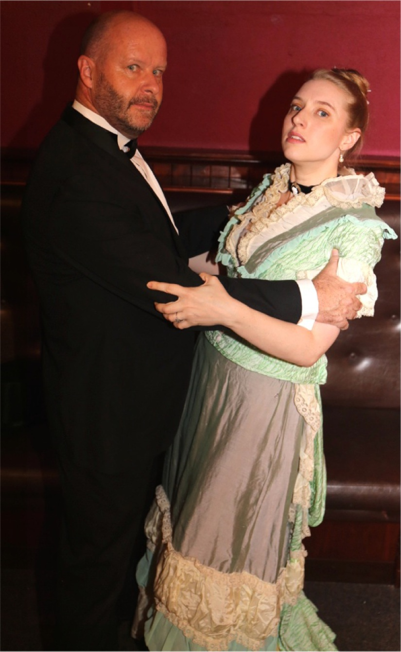 Jack Manningham (Andrew Govey) psychologically torments his wife Bella (Emma Shaw) in the Victorian thriller Gaslight.