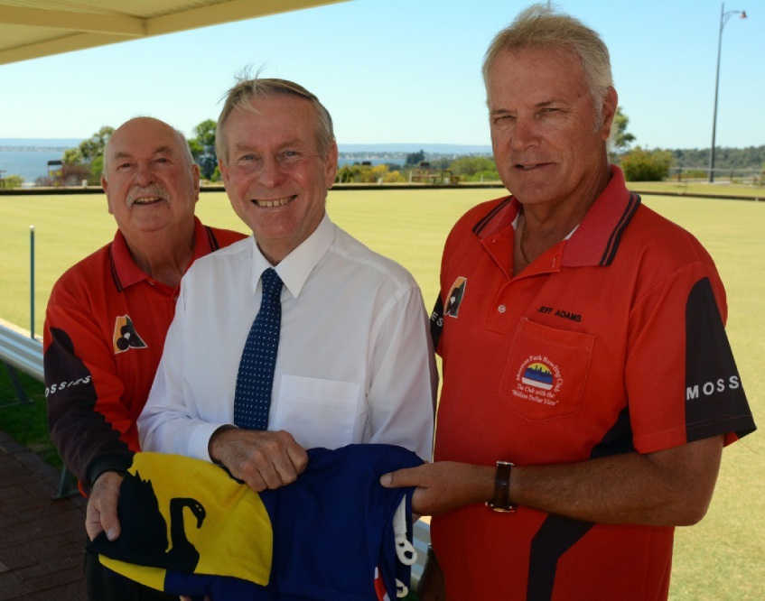 Mosman Park Bowling Club president Mike Grace, Colin Barnett and club vice-president Jeff Adams.