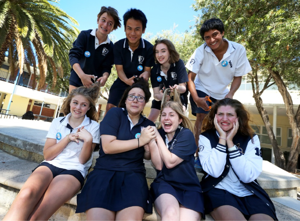 John Curtin College of the Arts students are game for the World's Greatest Shave this year.  Top row: Olivia Hellemar, Jonathan Wu, Roisin Hille, Joel Raja. Front row: Shelby Hewlett, Maya Quinn, Milli Weaver and Alex Dunn. Picture: Matt Jelonek        www.communitypix.com.au   d450515