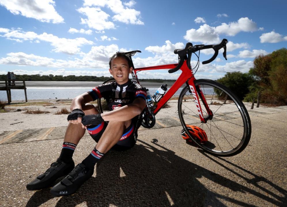 Lionel Soh takes a break from training for the Gran Fondo. Picture: Matt Jelonek www.communitypix.com.au   d450423