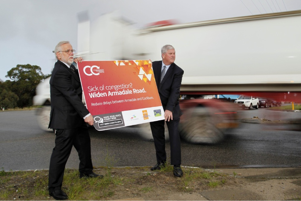 Armadale Mayor Henry Zelones with Cockburn Mayor Logan Howlett at the CCS launch last year. Picture: Paul McGovern