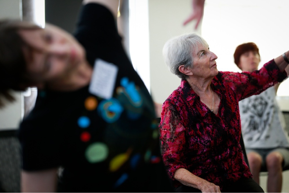 Lorraine Conrad at her dance class with others who are on a similar journey. Picture: Andrew Ritchie        www.communitypix.com.au   d450549