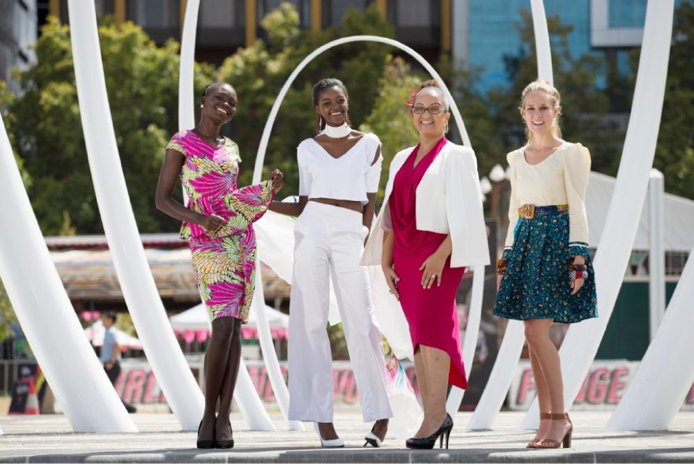 Organisers of Africa Fashion Week Ayor Chuot, Nasutu Mbewe, Candice Maberly and Carla van der Walt.    Picture: Andrew Ritchie www.communitypix.com.au   d450205