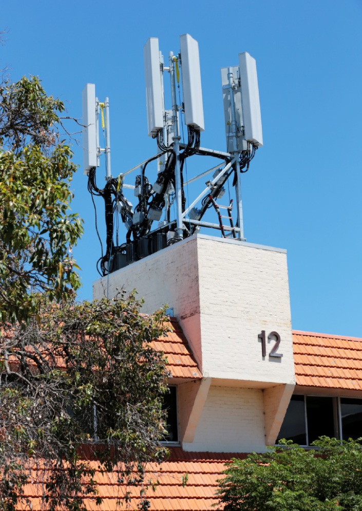 A mobile phone tower on the old Mead Medical Building.