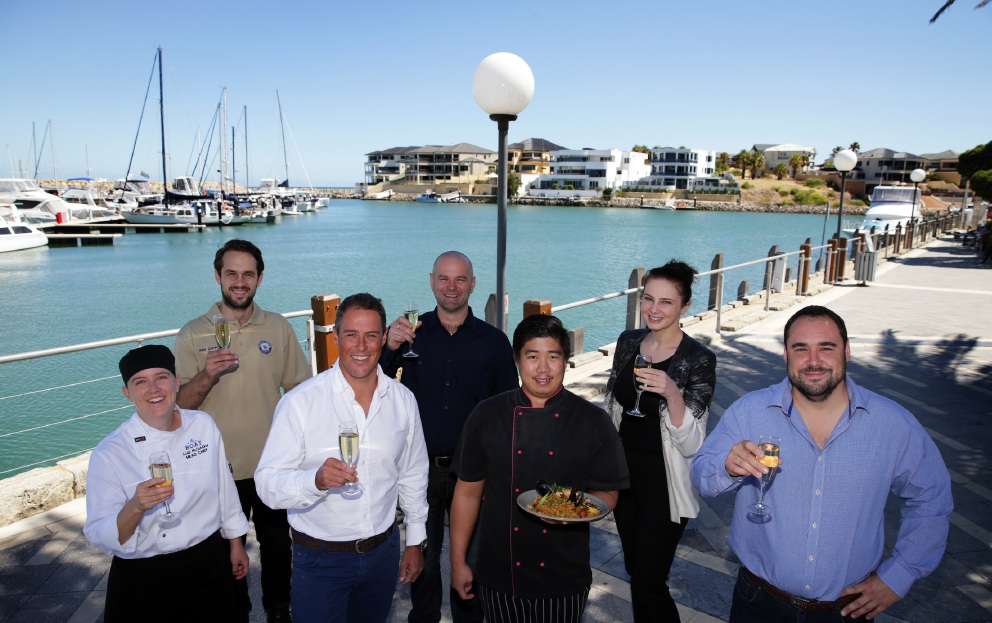 Mindarie Marina's Lisa McCarthy, Jack Purser, Andrew McGie, Luke Symmonds, David Evangelista, Candice Smith and Mike Waterman. Pitcure: Martin Kennealey d450921