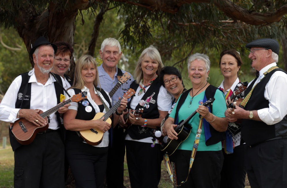 Ukelele players Ken and Audrey Tasker, Trish Matthees, Robin Wigmore, Gail Harris, Janice Buay, Jennifer Wigmore, Marilyn McCutcheon and John Johnson. Picture: Martin Kennealey  d450379