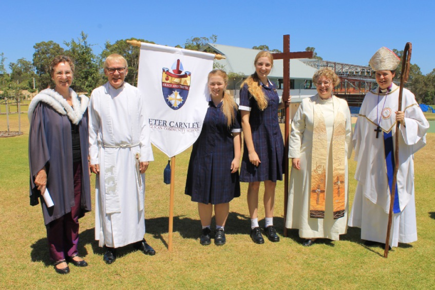 Acting principal Maggie Dunnill, the Rev Peter Laurence, school captain Emily Price, vice-captain Elysia Monego, school chaplain the Rev Melanie Simms and the Rev Kate Wilmot.