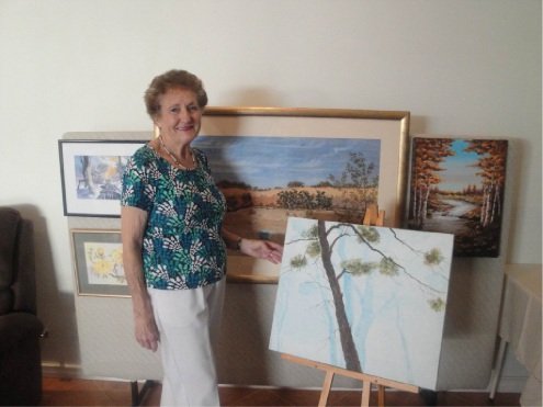 Artist Val Forrest is exhibiting a collection of her latest paintings in Guildford.