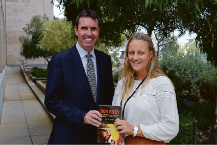 Education and Aboriginal Affairs Minister Peter Collier with Aimee Coles.