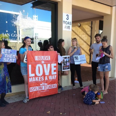 Protesters outside Moore MHR Ian |Goodenough's office last week.