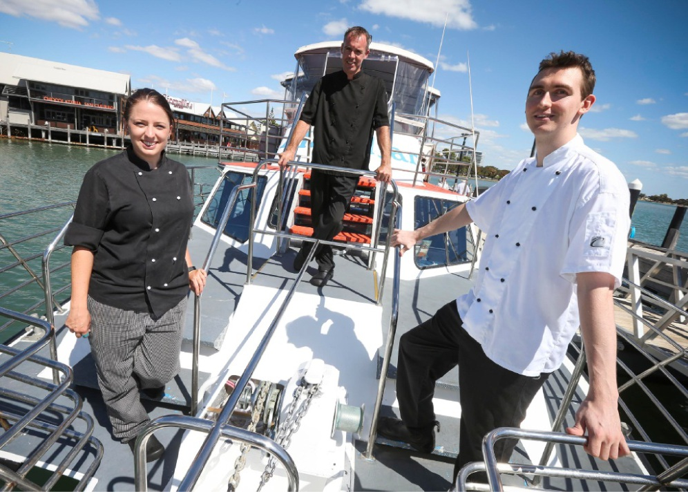Crab cruise... chefs Ellen Rayner from Stage Door, Chris Hughes from Catch 22 and Robin Kuther from Mandurah Quay.  Picture: Matt Jelonek        d449948