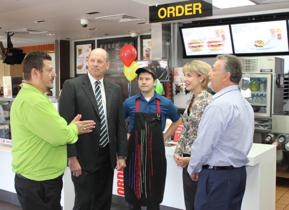 McDonald's consultant Tony Nedaneska, Cowan MLA Luke Simpkins, McDonald's Wanneroo employee Dane Tapp, Employment Minister Michaelia Cash and store licensee Terry Krysyna.