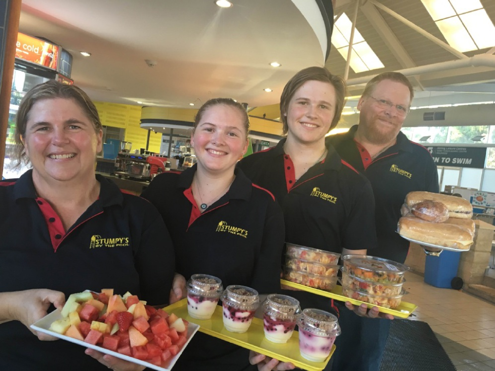 The Wood family - Cathy, Emilya, Zac and Sean - recently took over the cafe at the Terry Tyzack Aquatic Centre in Inglewood.