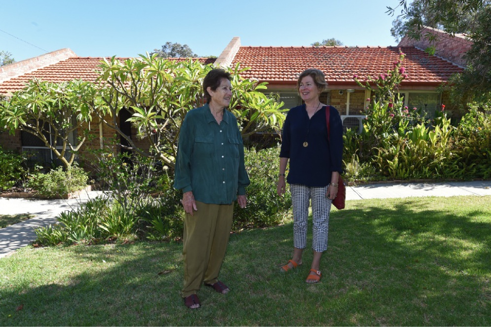 No place like an affordable home: Resident Nan Maria with Co-operation Housing CEO Rebecca Hicks. Picture: Jon Hewson        www.communitypix.com.au   d449772