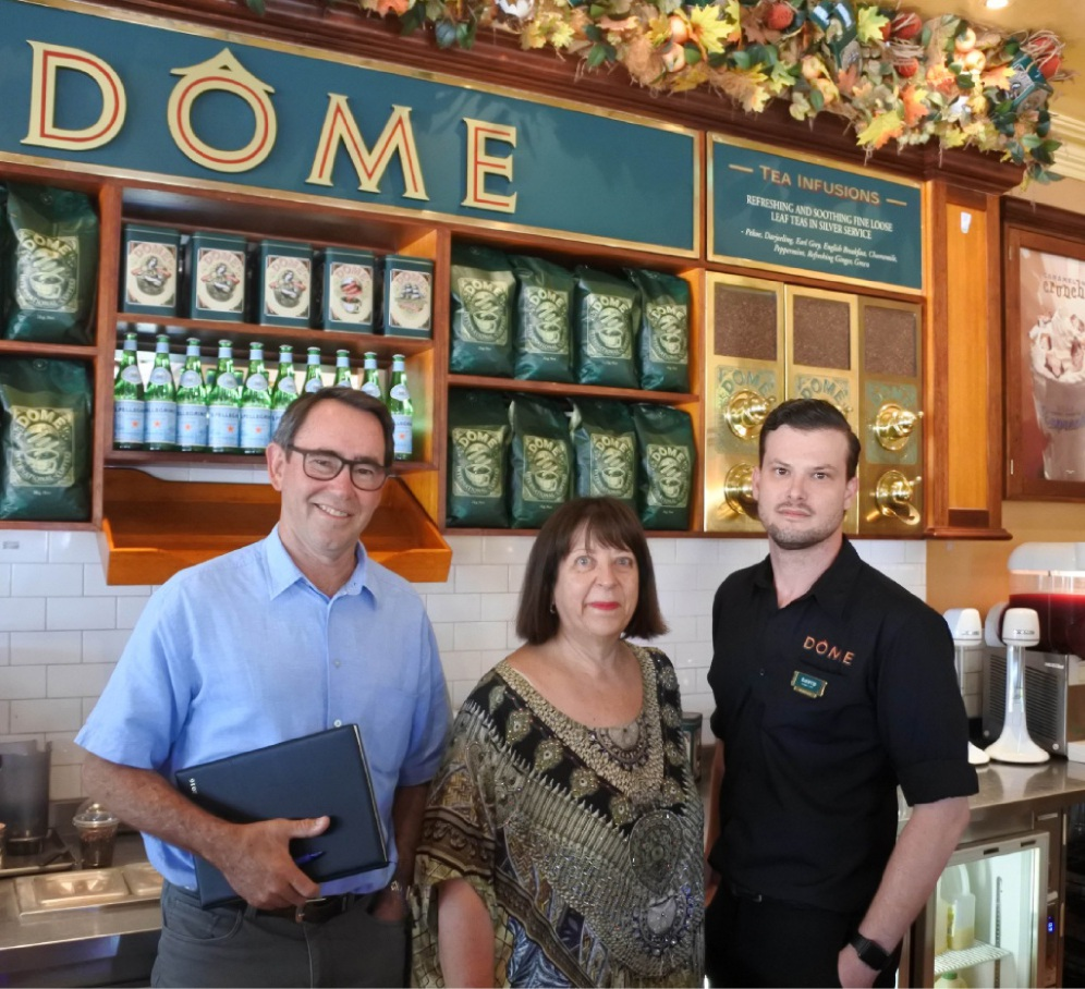 Rockingham Kwinana Chamber of Commerce chief executive Tony Solin, Dome co-founder Patria Jafferies and manager David Spratley.