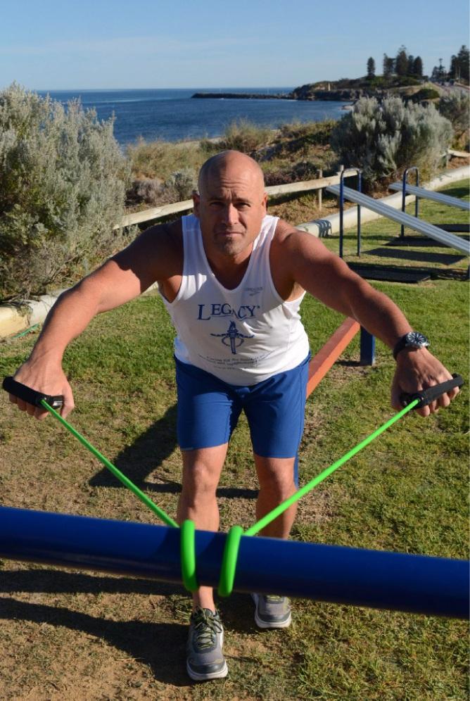 Andrew Northover had to improvise some of his training for the Rottnest Swim. Picture: Jon Bassett