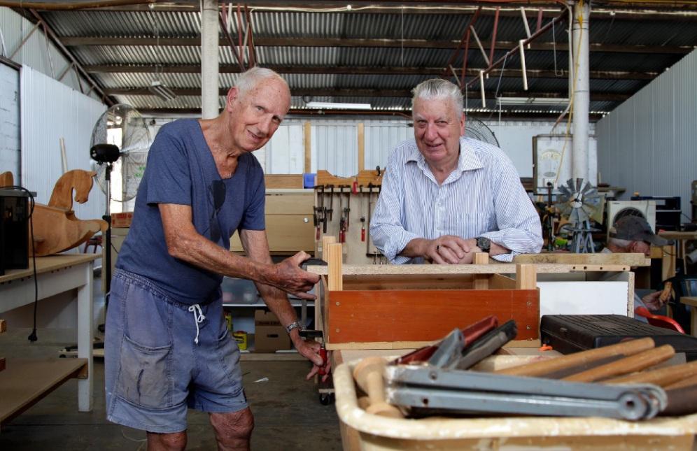 Merv Trowbridge and Brian Carey (chairman, Belmont Men's Shed) . Picture: Marie Nirme www.communitypix.com.au   d450054