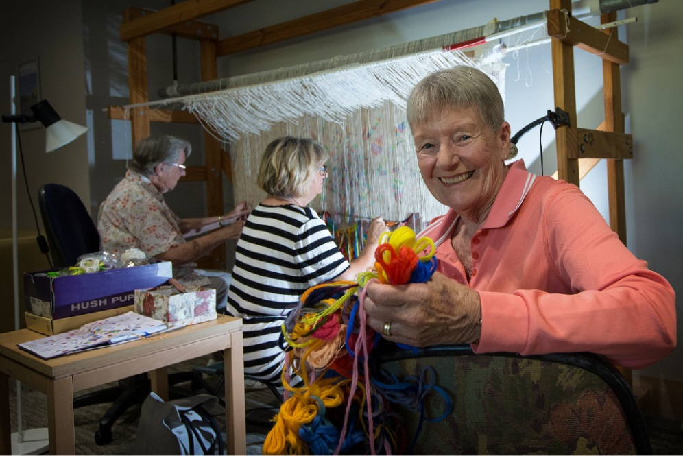 Connie Ward, Toni Potulski and Karen Venard are re-creating an artwork as a tapestry for St John of God Murdoch. Picture: Will Russell        www.communitypix.com.au   d450058