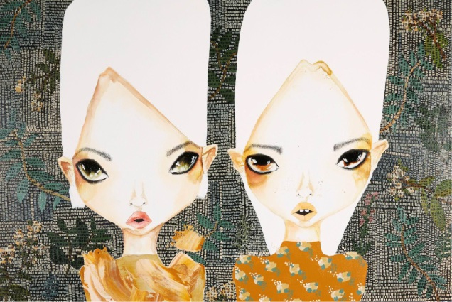 A piece of Sara Winfield's art featuring her signature large-scale doe-eyed girls.