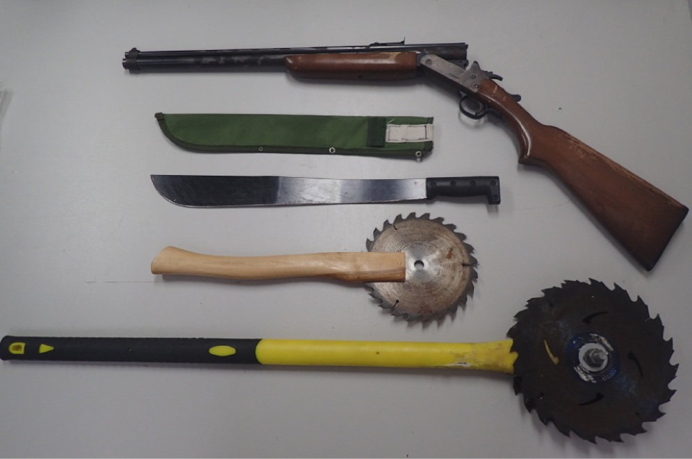 Some of the weapons found by police.