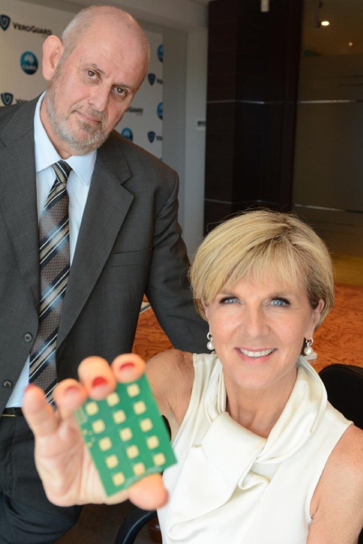Julie Bishop with Daniel Elbaum. Picture: Jon Bassett