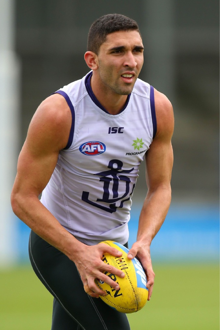 Hurt: Fremantle's Anthony Morabito.