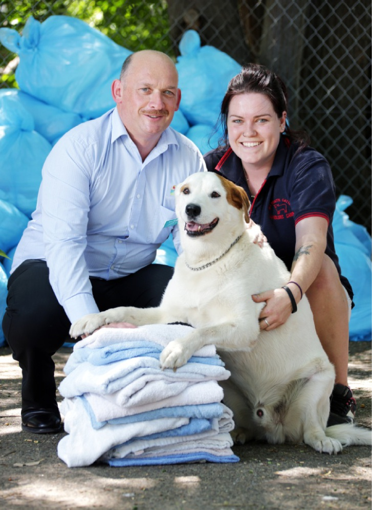 Fresh Fields' Kevin Fitzgerald with Swan Haven volunteer Elise Blackwell and Patch. Picture: David Baylis  d449430