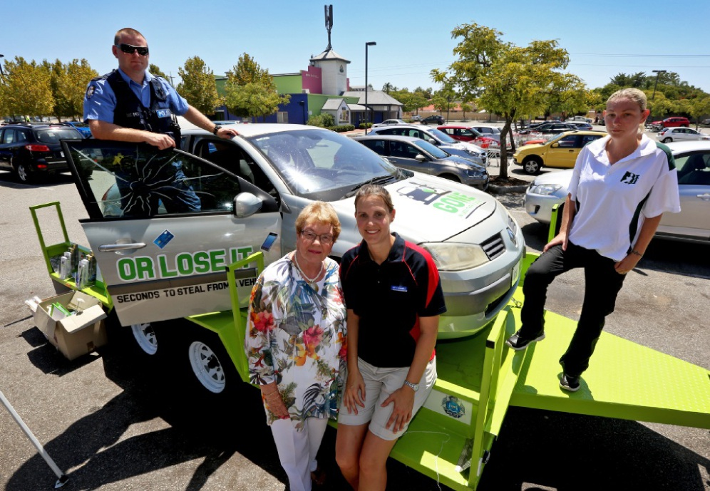 Constable Chris Heart, Mayor Olwen Searle, Community Safety Officer Janelle Patterson and Neighbourhood Watch volunteer Tina Stannard with one of the crime prevention vehicles.  Picture: Matt Jelonek  d449583