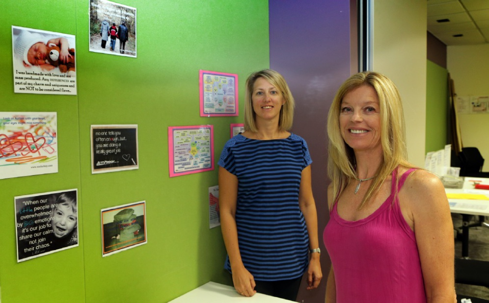 Autism support group co-ordinators Helen Owen and Gillian Gore. Picture: Martin Kennealey d449441