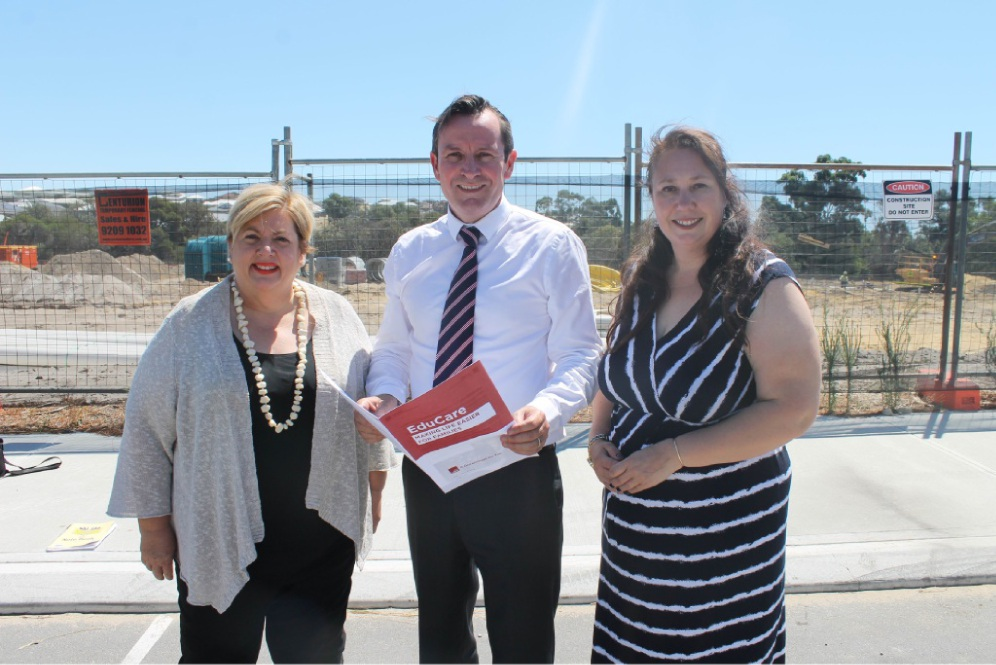 Girrawheen MLA Margaret Quirk, State Opposition leader Mark McGowan and Landsdale resident Dionne Leighton-Harris.