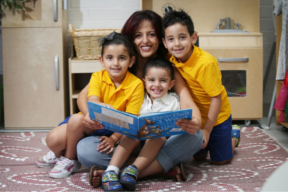 Areeg Madanat, here with her children Joelle (5), Peter (3) and Antoine (7), found the help she needed at the Westminster Child and Parent Centre. Picture: Andrew Ritchie www.communitypix.com.au   d449724