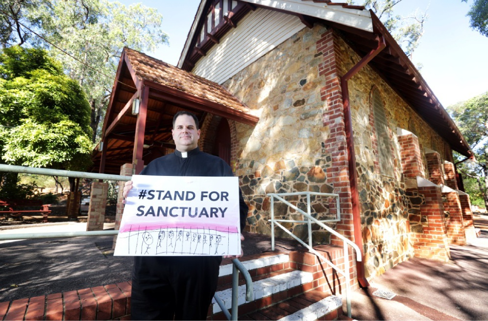Father Chris Bedding makes the church's stance clear. Picture: David Baylis        www.communitypix.com.au   d449774